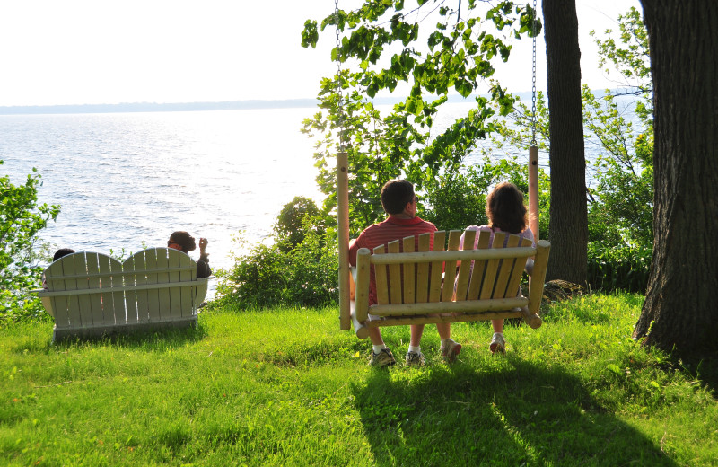 Relaxing by the lake at Tyler Place Family Resort.