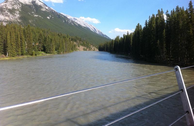 Scenic view from bridge at Banff Rocky Mountain Resort.