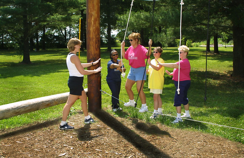 Rope climbing at Heartland Spa & Fitness Resort.