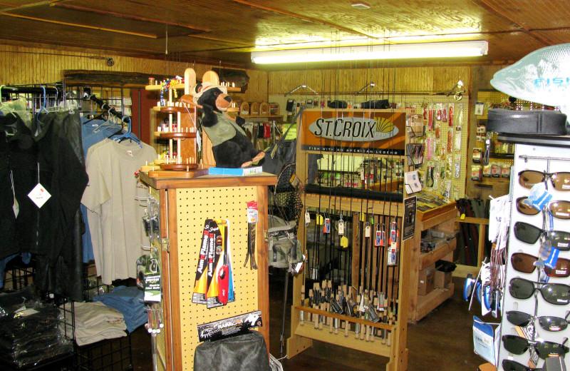 Bait shop at Copper John's Resort.