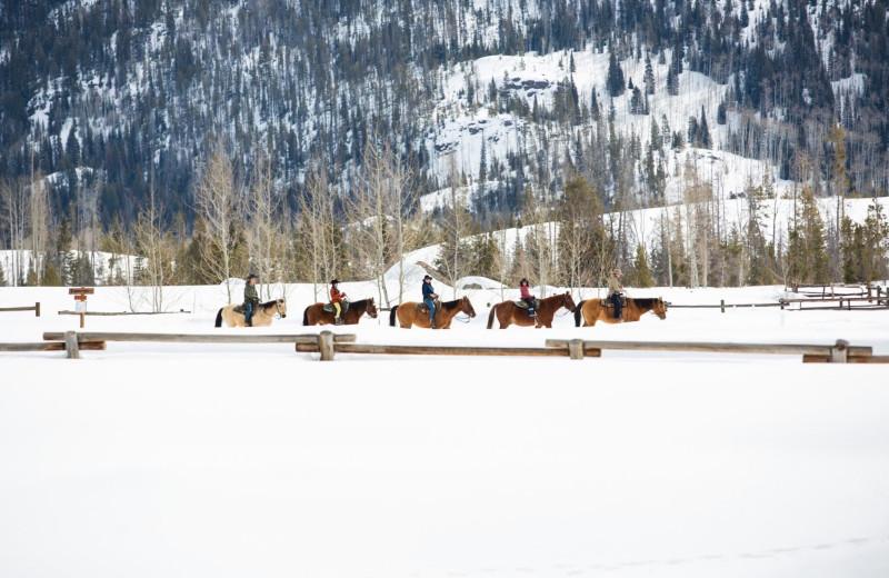 Winter trail riding at Vista Verde Ranch.