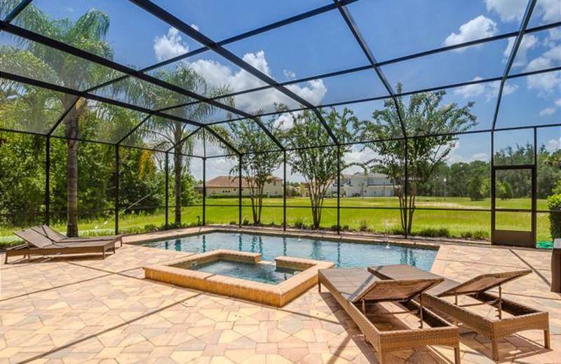 Vacation rental pool at Luxury Reunion Rentals.