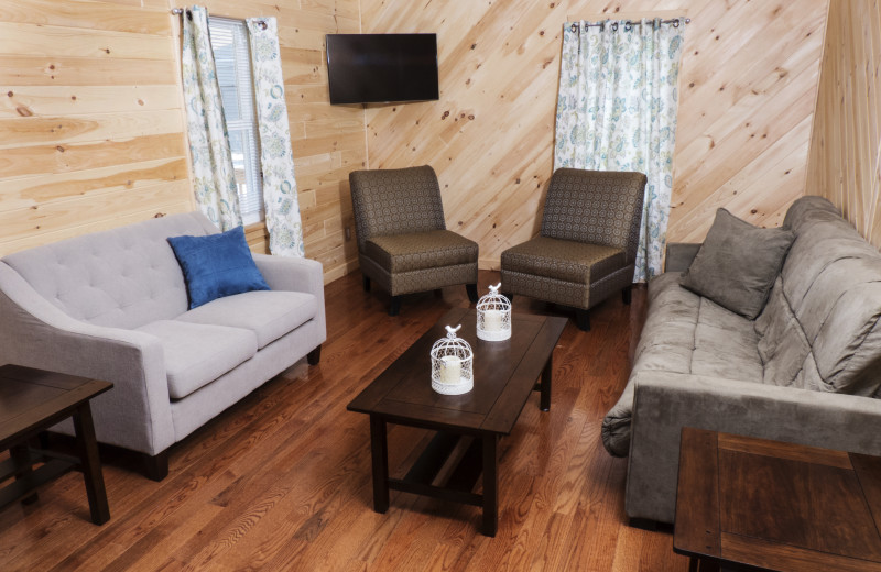 Cabin living room at Catskill Mountains Resort.