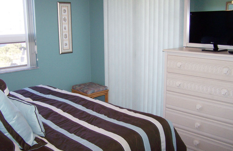 Rental bedroom at Gulf Strand Resort.