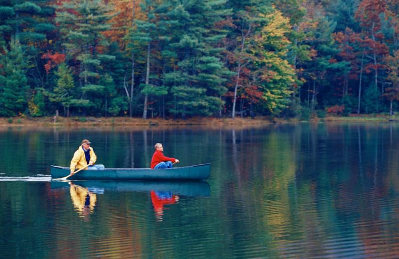 Canoeing on lake at Mountain Vista Rentals.