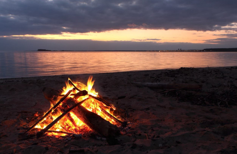 Beach bonfires at Historic Lund Hotel.