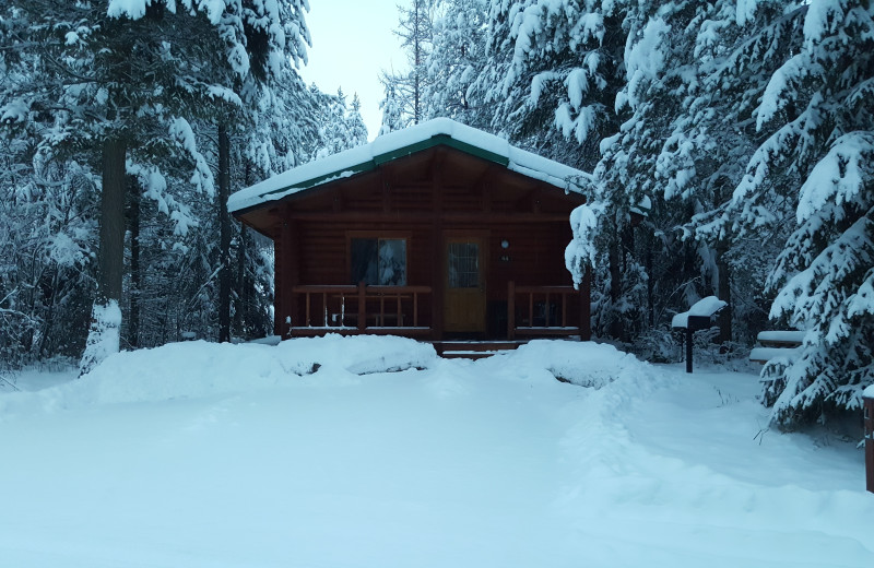 Cabin in snow AT North Forty Resort.