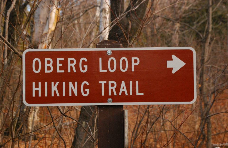 Hiking trail sign at Temperance Landing on Lake Superior.