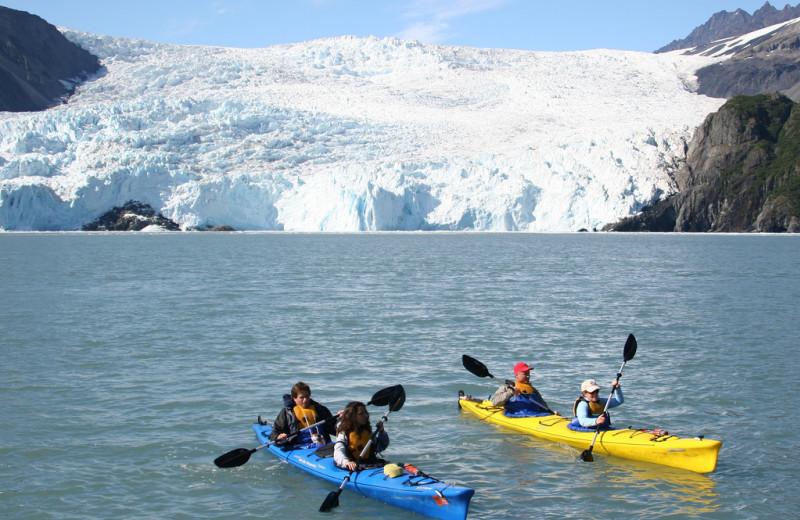 Kayaks at Kenai Fjords Glacier Lodge.