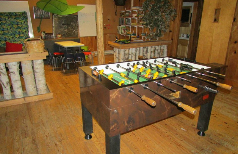 Foosball table at Elbow Lake Lodge.