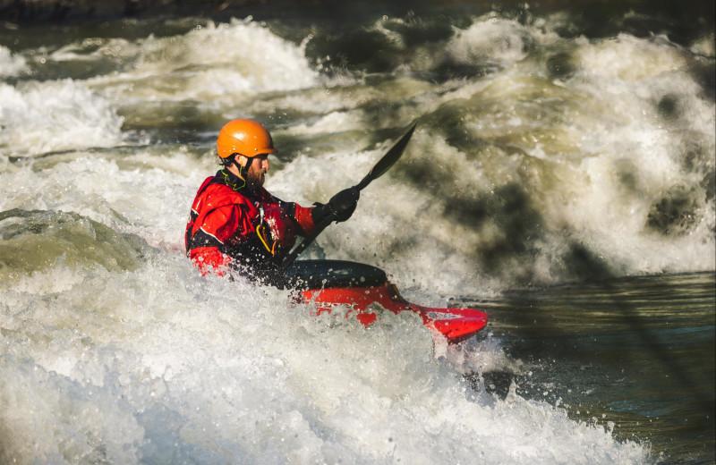 Kayaking at Misty Mountain Lodge.