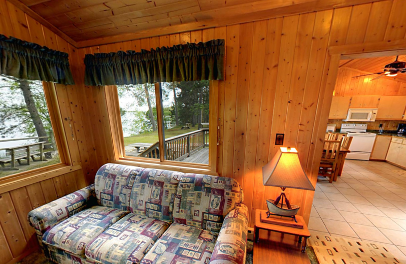 Cabin interior at Black Pine Beach Resort.