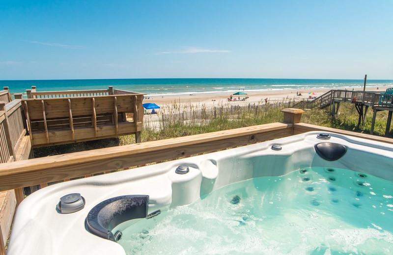 Rental hot tub at Topsail Realty.