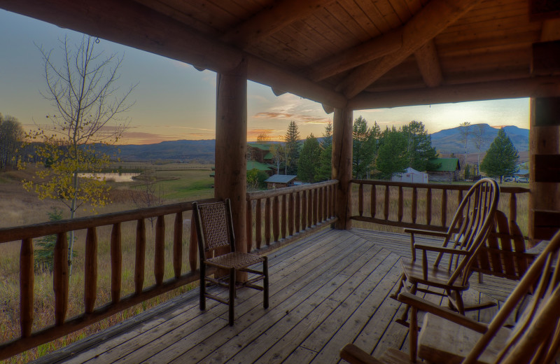 Guest deck view at The Home Ranch.