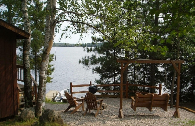 Lakeside seating at Timber Trail Lodge & Resort.