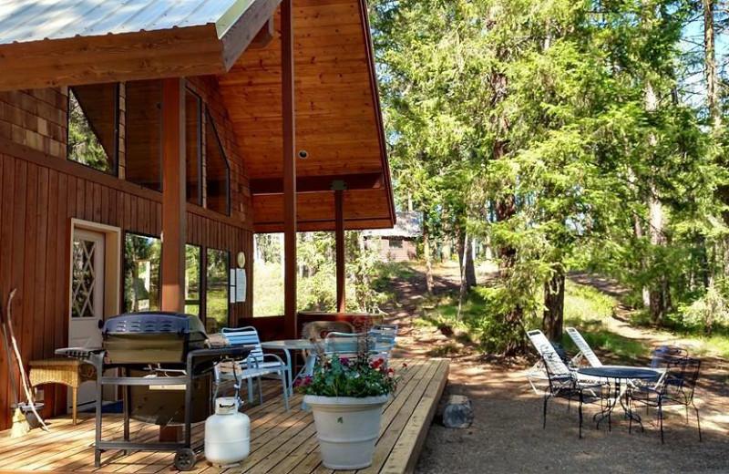 Cabin porch at Natapoc Lodging.