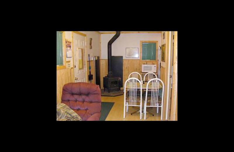 Cabin interior at Cheechako Cabins.