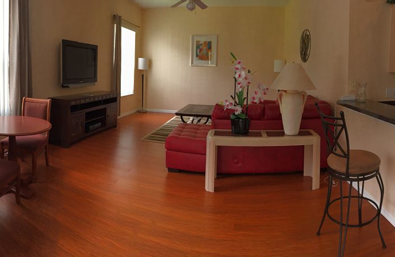 Rental living room at Leabridge Vacations.