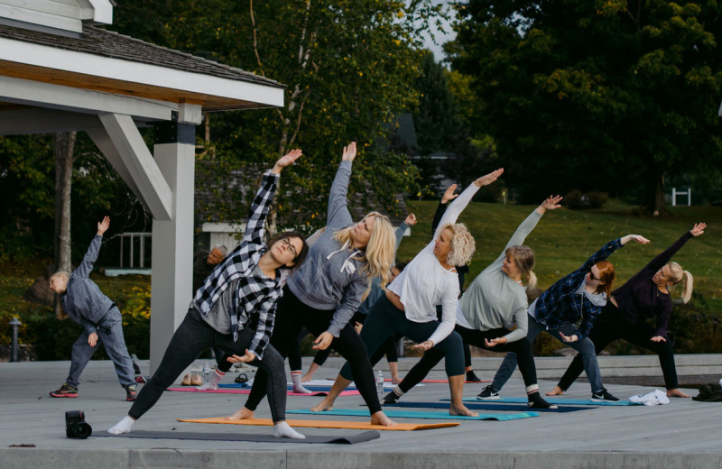 Yoga at Port Cunnington Lodge & Resort.