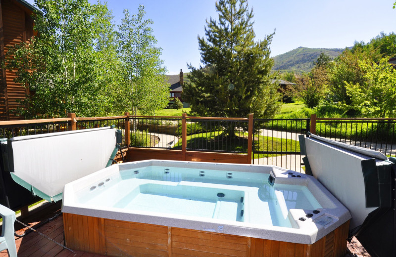 Rental hot tub at Steamboat Lodging Properties.