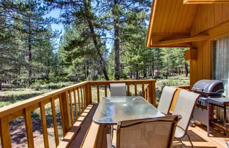 Vacation rental deck at Vacasa Rentals Sunriver.