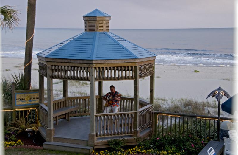 Beach view of Ocean Isle Inn.