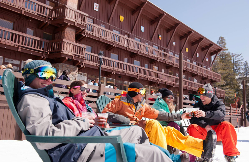 Relaxing with a drink at Sugar Bowl Resort.