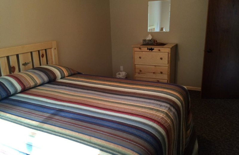 Cabin bedroom at Barky's Resort.