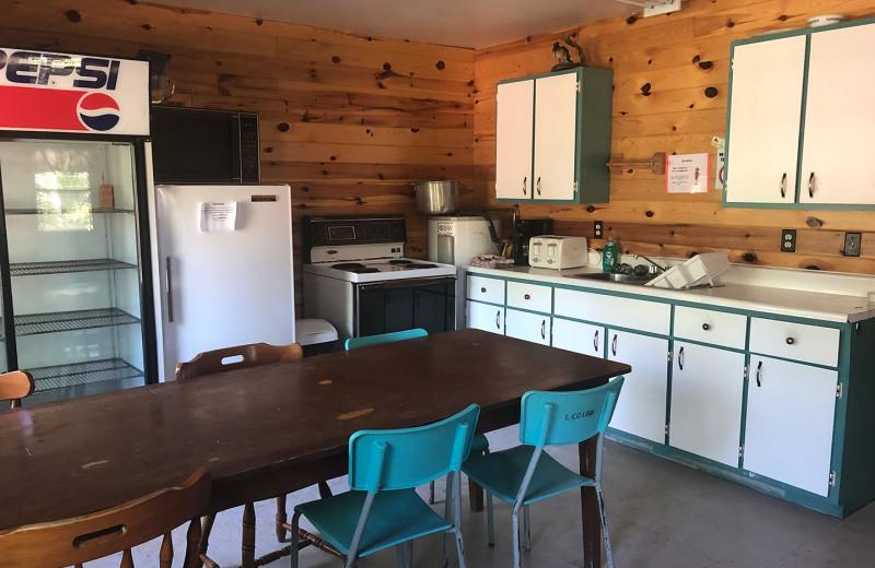 Cabin kitchen at Pakwash Lake Camp.