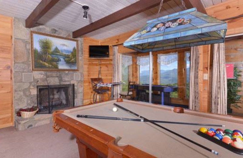 Cabin game room at Cabins For You.