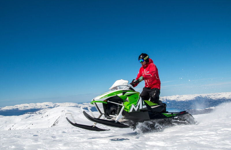 Snowmobile at Island Park Reservations.