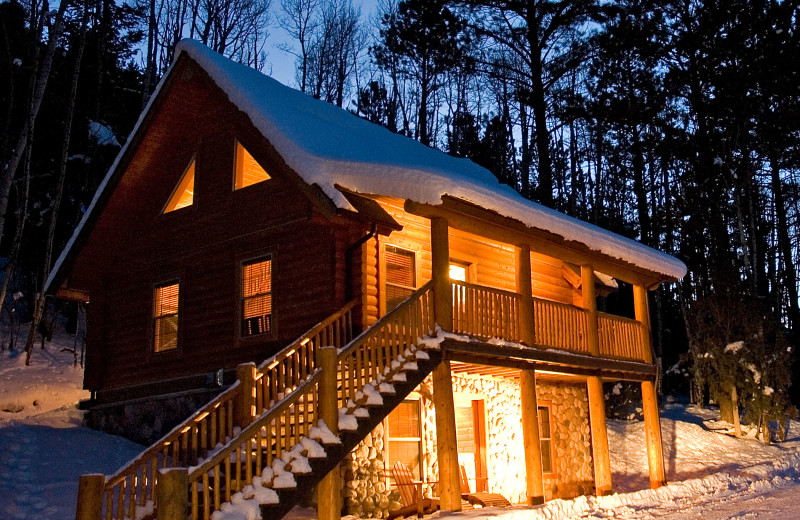 Winter time cabin at Mt. Princeton Hot Springs Resort.