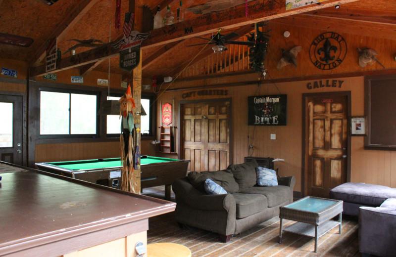 Rec room at Berry Creek Cabins.