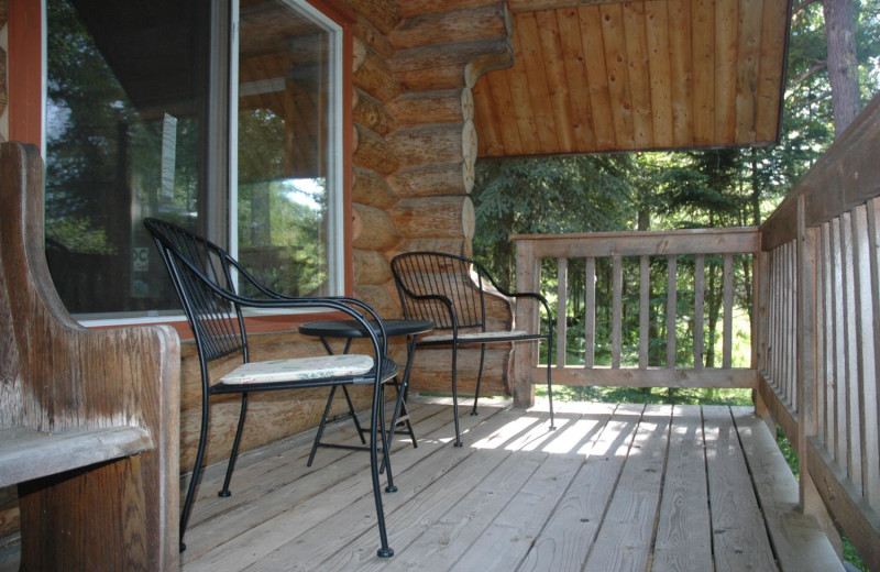 Cabin deck at Heston's Lodge.