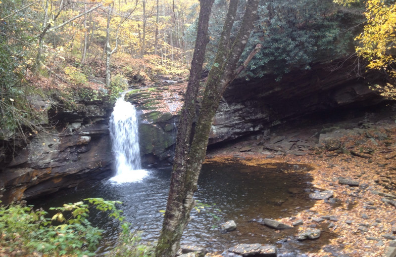 Waterfall near Mountain Oasis Cabin Rentals.