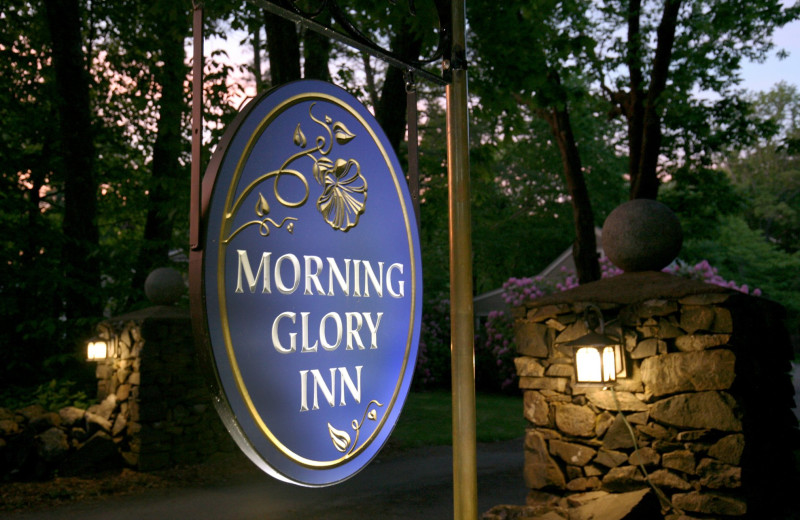Welcome sign at Morning Glory Inn.