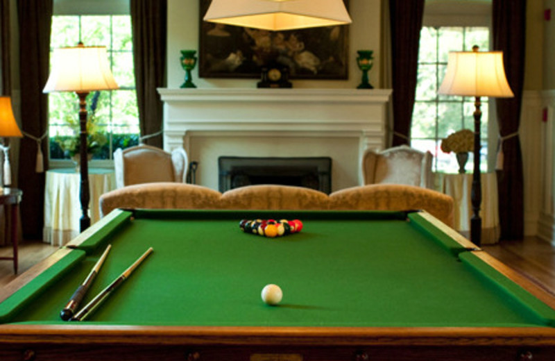 Pool table by fireplace at Keswick Hall.