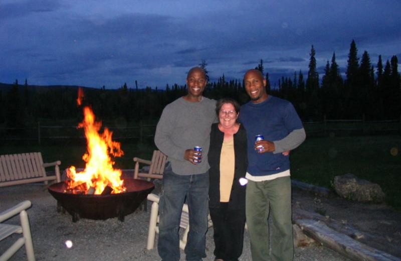 Bonfire at Cheechako Cabins.