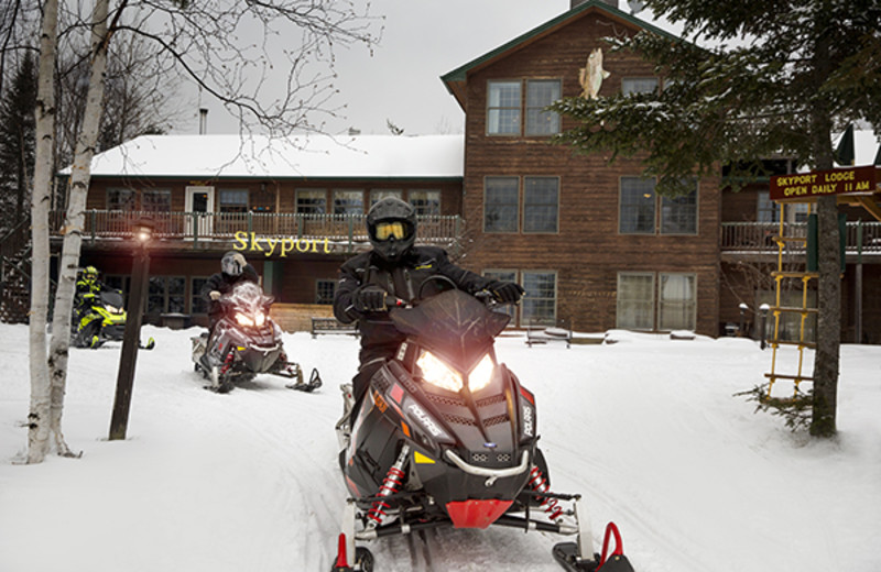 snowmobile at Skyport Lodge