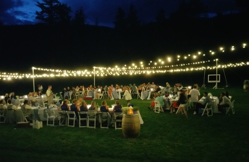 Evening reception surrounded by nature and draped in lights at the venue