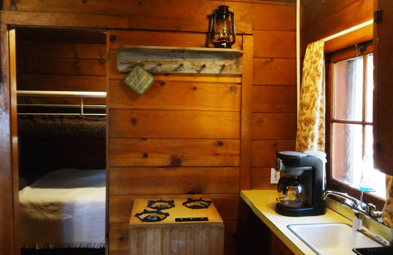 Cabin kitchen at North Shore Lodge & Resort.