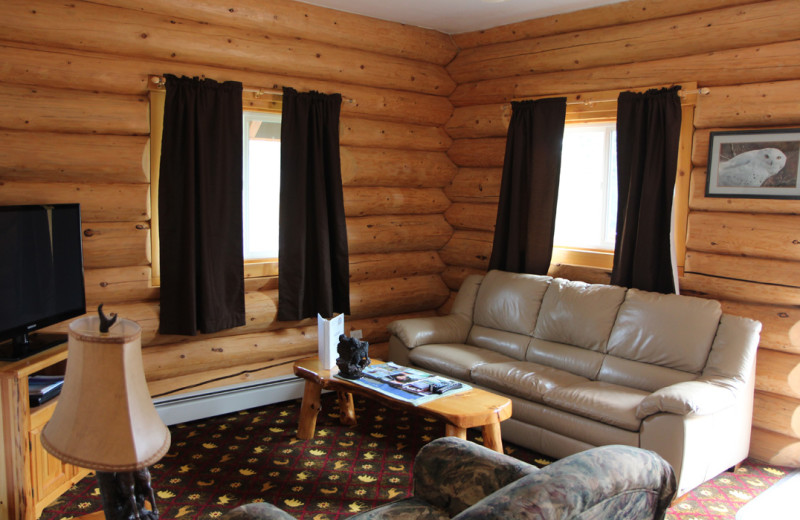Guest living room at Salmon Catcher Lodge.
