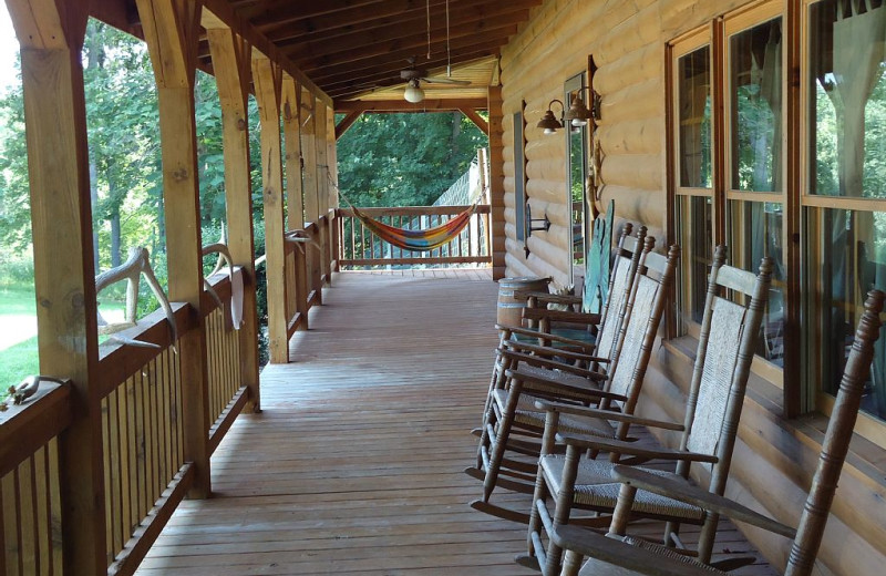 Cabin porch at Elk Ridge Ranch.