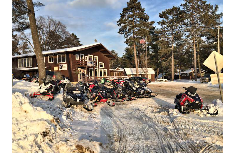 Snowmobiling at Silver Rapids Lodge.