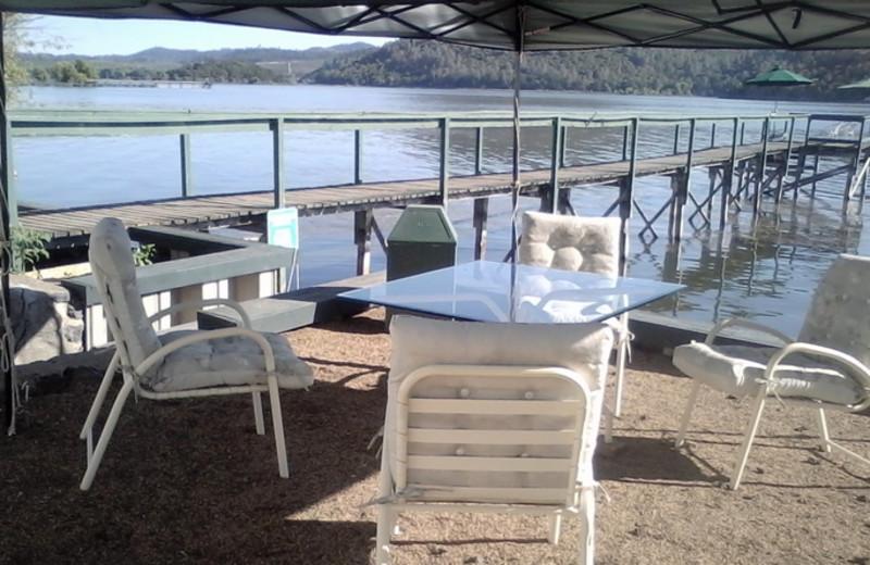 Outdoor patio at Linger Longer Resort.