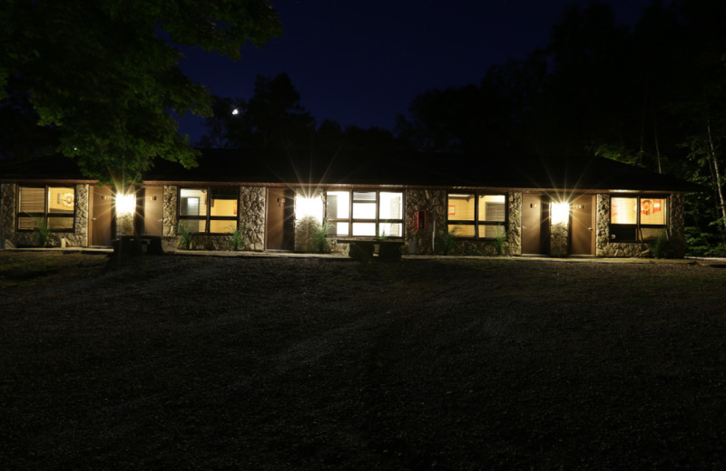 Well lit room block at night, easy to get back to your room safely.