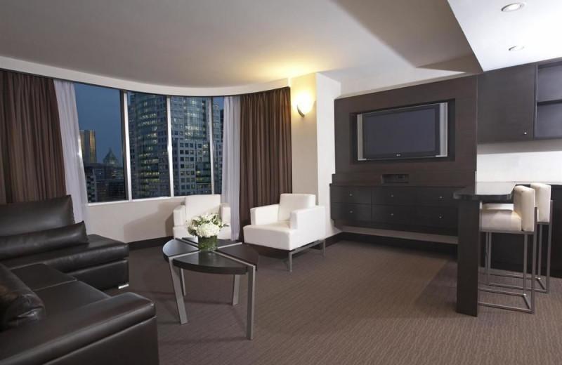 Guest room at Hyatt Regency Toronto.