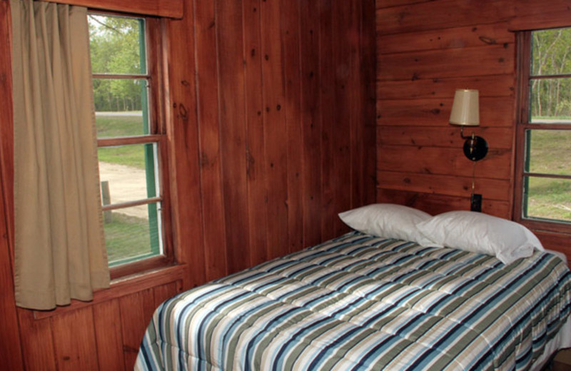 Cabin bedroom at Bell's Resort Bar and Grill.