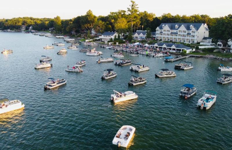 Pontoons at Bay Pointe Inn Lakefront Resort.