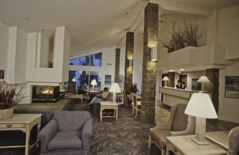 Hotel lobby at Grand Marais Hotel Company.